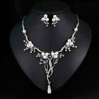 Halskette Collier Perlen Ohrringe Schmuckset Kristall Strass Damen Schmuck Braut