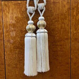 Curtain Tie Backs Tassels Gray & White-Gold, Long Tassels 13 Inch, Rope Tie Back