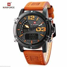 NAVIFORCE Male Dual Movt Watch Calendar Luminous Leather Band Wristwatches