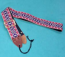 Vtg Ventura Bruno & Son Red Blue White Ace Style Woven Guitar Strap Made in USA