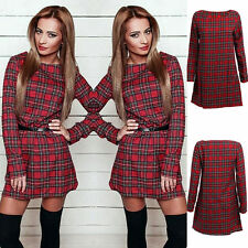 Cotton Blend Checked Shirt Dresses for Women