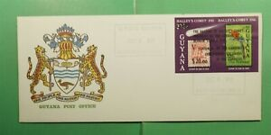 DR WHO 1987 GUYANA FDC SPACE HALLEYS COMET IMPERF S/S OVPT COLUMBUS  g13421
