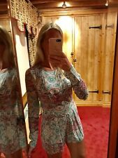 Brand New Glamorous Long Sleeved Paisley Pink And Turquoise Playsuit Jumpsuit.