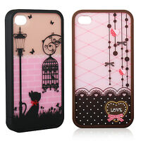2017 New Cute Lovely Hard Cover Skin Case For iPhone 4 4S Screen Protector Gift