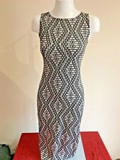 NEW LOOK Black White Diamond Check Long Dress Size 12