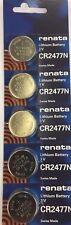 5 PC Renata CR2477N 2477 Lithium Battery 3V Swiss Made