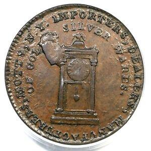 1789 PCGS AU 58 Plain Edge Thick Mott Token Colonial Copper Coin