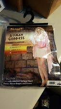 HALLOWEEN COSTUME Roman Goddess Women M 8-10 Dress Veil Sleeve Heart Charm Crown