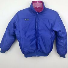 Columbia Womens M Puffer Jacket Duck Down Blue Purple Reversible Coat j1