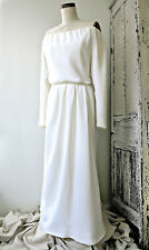 YSL Yves Saint Laurent white rayon faille off-shoulder gown, size 40, Pristine!