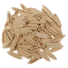 100pcs Wooden 2 Holes Handmade Tags Embellishments for Sewing Craft Natural