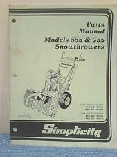 Simplicity 555 And 755 Snowthrower Parts Manual Tp-1097-03 Original! 1987