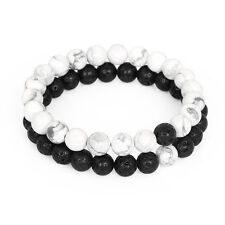 Distance Couple Bracelet Yin Yang Lava Rock & Howlite Stone His and Her Lover C2
