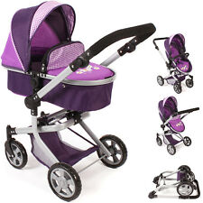 Bayer Chic 2000 Puppenwagen Mika 2in1 Purple Checker Kinderwagen Buggy für Puppe