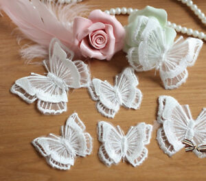 Embroidered Wedding Costume DIY Motif Evening Dress Lace Butterfly Applique 4pcs