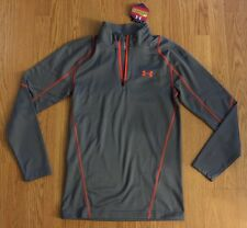 New Under Armour Men Fitted Small Gray Orange Zip Pullover T Shirt $70 Infrared