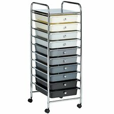 10 Drawer Make Up Home Office Salon Storage Trolley Monochrome Ombre New