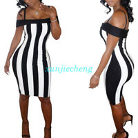 Women Cold Shoulder Black White Vertical Striped Bodycon Mini Party Ladies Dress