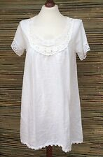 """LAGENLOOK LINEN LAYERING LACE SOFT LONG TUNIC-DRESS *WHITE*SIZE  S/M BUST 38"""""""