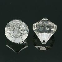 5 OR 10 LARGE FACETED CLEAR ACRYLIC DIAMOND TOP DRILLED PENDANT BEADS 31mm ACR35