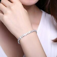 Women Single Row Crystal Tennis Silver Tone Bracelet Elements Jewelry KS