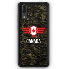 Huawei P20 SILIKON Hülle Canada Kanada Camouflage mit Schriftzug Motiv Design M