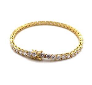 Unisex 1 Row 4mm Tennis Bracelet Lab Diamond 14k Gold Plated Clasp Lock