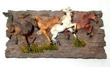 Vintage Horse Wall Art Plaque 4 Running Horses Western Decor  Resin
