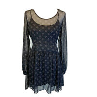 Free People Womens Small Black Printed Dress Attached Slip Semi Sheer