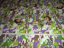 DORA THE EXPLORER CAMO  FABRIC - BY THE YARD - 4 YARDS IN STOCK