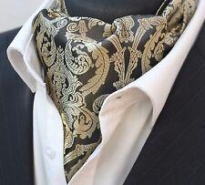Cravat Ascot Black & Gold Cravat with matching hanky.