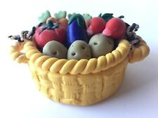 Vintage Mary Engelbreit 1990s Clay Vegetable Basket Ornament Very Detailed