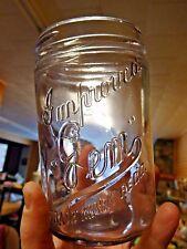 Vintage IMPROVED GEM Embossed Purple-hued Glass Canning Jar (AB1212)