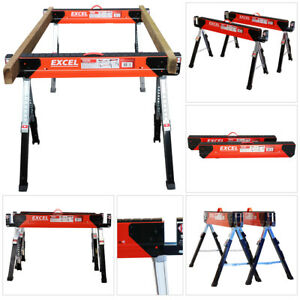 Excel EX - C700 Saw Horse Trestle Table Twin Pack Adjustable Leg Folding