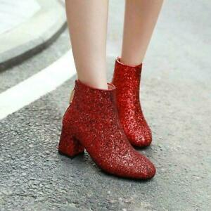 Women's Sequined Glitter Block Mid Heel Back Zip Ankle Boots Shoes Fashion Ladys