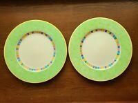 "Set of 2 Villeroy & Boch ""Twist Alea Verde"" Fine China Dinner Plates - 10 5/8"""