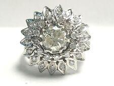 Vintage 14K 1.63 Carat Total Weight Round Diamond Sunflower Cluster Ring