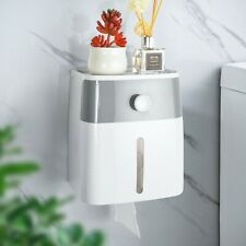 Toilet Paper Roll Holder Adhesive Wall Mount Facial Tissue Storage Box Shelf