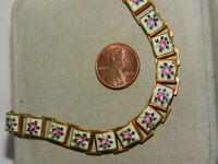 "Vintage Enamel Flower Link 15"" Book Chain Gold tone Necklace 3h 53"