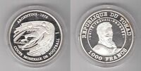 CHAD – SILVER PROOF 1000 FRANCS COIN 2002 YEAR KM#22 ARGENTINA WORLD CUP 1978