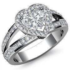 Heart Diamond Engagement Split Shank Ring EGL E Color VS2 14k White Gold 1.55 ct