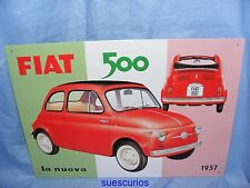Metal Advertising Car Garage Sign Fiat 500 1957