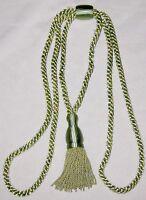 """Green Single 40"""" Victorian Drapery Rope w Tassle Drapery Tie Back"""