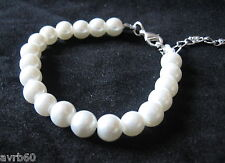 Pulsera de perlas de imitación de hilera simple Gancho de sujeción de 7 pulgadas y 3 pulgadas extensión Nuevo