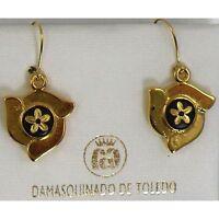 Damascene Gold Flower Design Drop Earrings by Midas of Toledo Spain