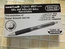 Uni-ball Signo 207 micro retractable 0.5mm gel pen BLACK INK x 12pc