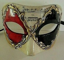 MAR100M HANDMADE IN ITALY, MASQUERADE, PAPIER MACHE, PARTY EYE MASK, RED/BLACK.