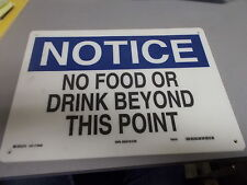 """NEW Brady 70442 """"No Food Or Drink"""" Notice Safety Sign *FREE SHIPPING*"""