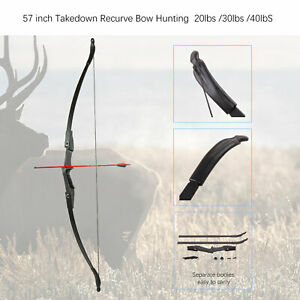 "57"" Takedown Recurve Bow Hunting Right/Left-Handed 20/30/40lbs Sports Shooting"