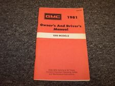 1981 GMC G10 G20 G30 Van Original Owner Owner's Operator User Guide Manual V8